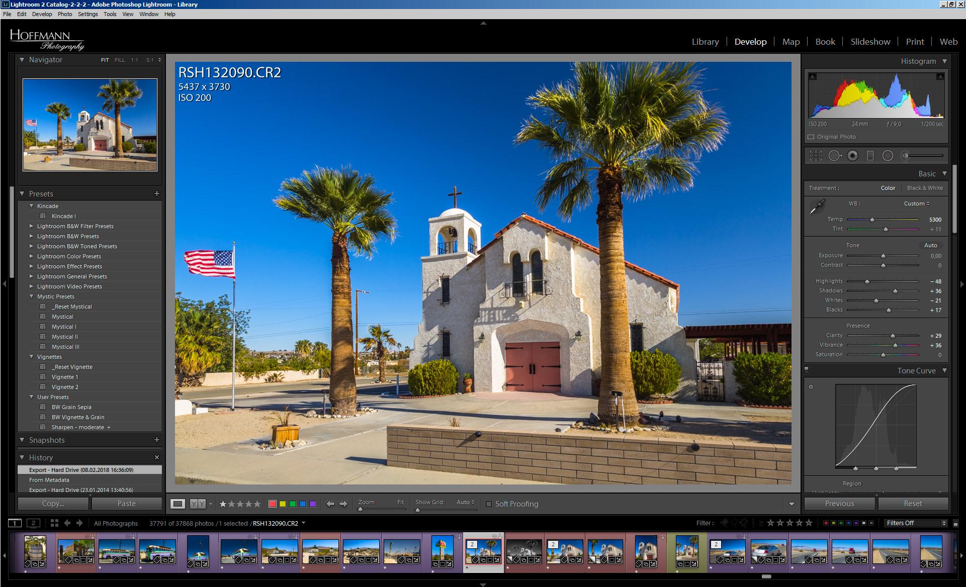 Screenshot des Entwickeln-Moduls von Adobe Lightroom