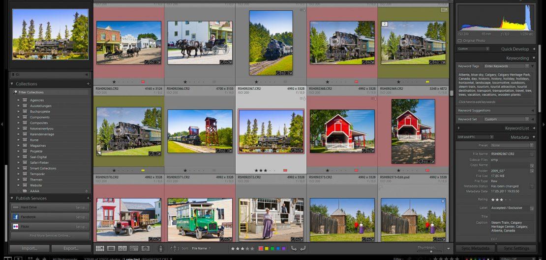 Screenshot des Bibliotheks-Moduls von Adobe Lightroom