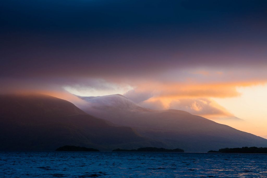 Abendlicht über Castlelough Bay, Loch Leane, Co. Kerry, Ireland